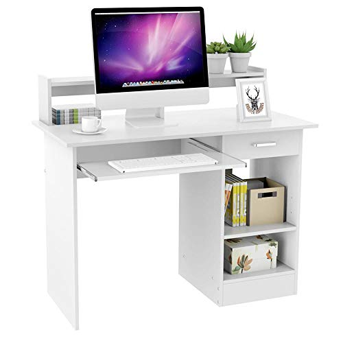 Yaheetech White Computer Desk with Drawers Storage Shelf Keyboard...