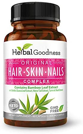 Original Bamboo Leaf Extract Hair Skin Nails Complex 60 600mg Capsule Vegan Collagen with Biotin product image