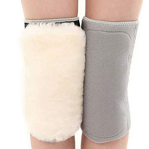 Kneepad Wollknieschützer und Samtverdickung tragen warme Herbst- und Wintermode für Männer und Frauen zum Schutz der Gelenke vor Kälte (Color : Grey, Größe : L)