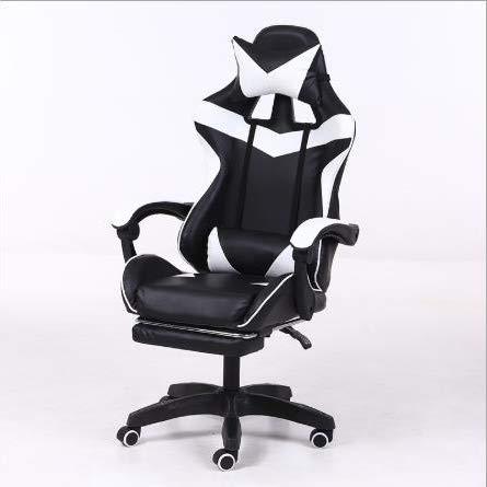 LWZ Sillas de Juego, sillas de Oficina, sillas giratorias robustas y ergonómicas, sillas con Cojines y respaldos Ajustables, sillas con reposapiés retráctiles (Negro y Rojo),White Black