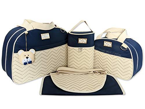 Bolsas de Maternidade Bordado Chevron 4 Peças Térmico Impermeável Cor: Azul Marinho