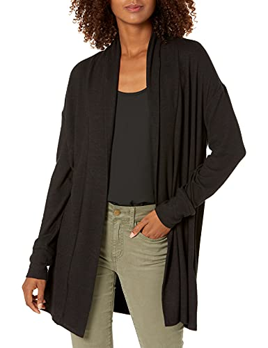 Marca Amazon - Daily Ritual - Cómoda chaqueta de punto abierta para mujer, Negro, US S (EU S - M)