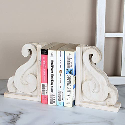 GENMOUS & CO. Rustic Distressed Vintage Scroll Corbel Bookends Farmhouse Whitewashed Wood Decorative...
