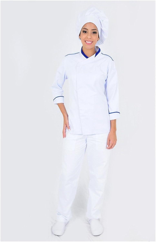 Dam Uniforms Women′s Long Sleeves White Details Royal Modern Chef Coat