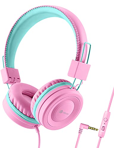 iClever Kids Headphones with Microphone for School - 85dB/94dB Volume Control, Wired Headphones for Kids Girls Boys, Adjustable Foldable On-Ear Headphones for Online Learning/iPad/Tablet/Travel, Pink
