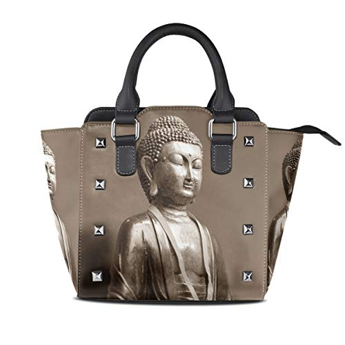 MALPLENA Malpela Handtasche/Arbeitstasche mit Buddha-Motiv, silberfarben