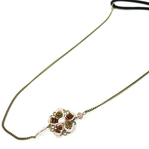 rougecaramel - Accessoires cheveux - Headband bijou motif fleur et filigrane - antique gold