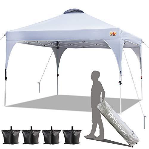 ABCCANOPY Patio 2x2 Pop Up Gazebo Tent Canopy Beach Gazebo Outdoor Gazebos Portable Gazebo Shade Gazebo Tent with Wheeled Carry Bag Bonus 4xWeight Bags,4xRopes&4xStakes(2x2,White)