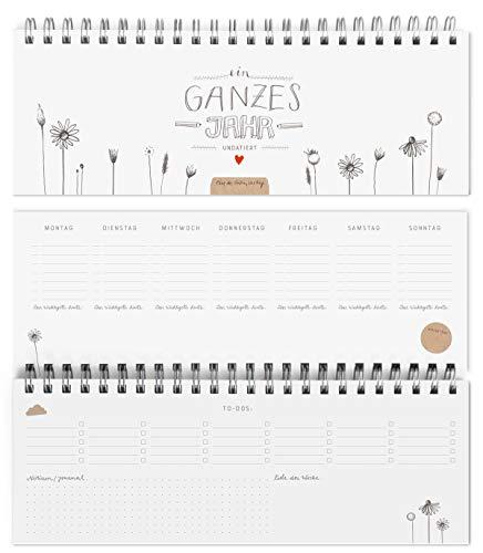 Eine der Guten Wochenplaner & Tischkalender - Ein ganzes Jahr - Querformat, Weiß, 2 Seiten pro Woche, ohne Datum, Kalendarium und Feiertage für 2021 & 2022, umweltfreundlich aus FSC-Papier