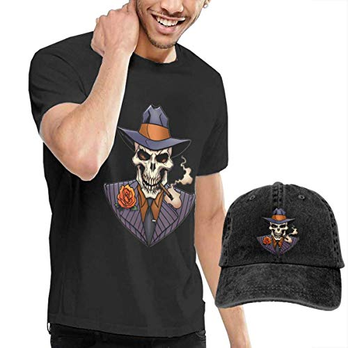 SOTTK Camisetas y Tops Hombre Polos y Camisas,t-Shirts, Tee's, Gangster Skull in Suits Men's Cotton T-Shirt with Round Collar with Adjustable Baseball Cap