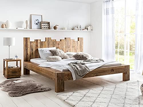 Woodkings Holz Bett 180x200 Queensburgh Doppelbett recycelte Pinie Holz rustikal massiv Schlafzimmer Massivholz Design Ehebett Balkenbett Naturmöbel Echtholzmöbel günstig