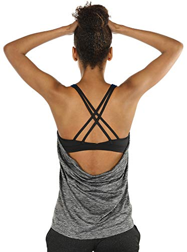 icyzone Damen Sport Yoga Top mit BH - 2 in 1 Fitness Shirt Cross Back BH Training Tanktop (L, Charcoal)