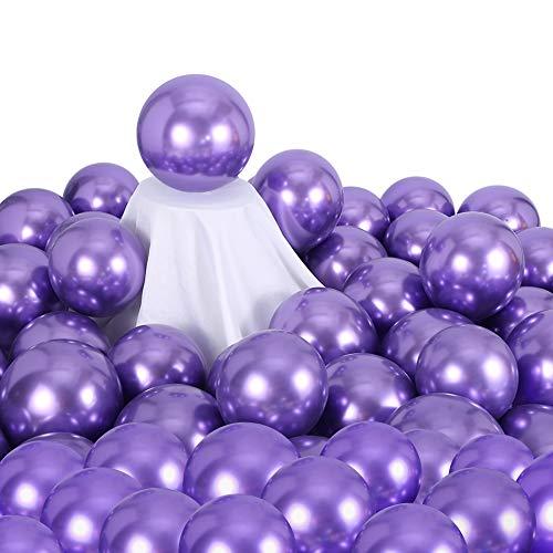 Metallic Chrome Purple Balloons 100 Pcs 12 Inch Helium Shiny Thicken Latex Balloons Party Decoration