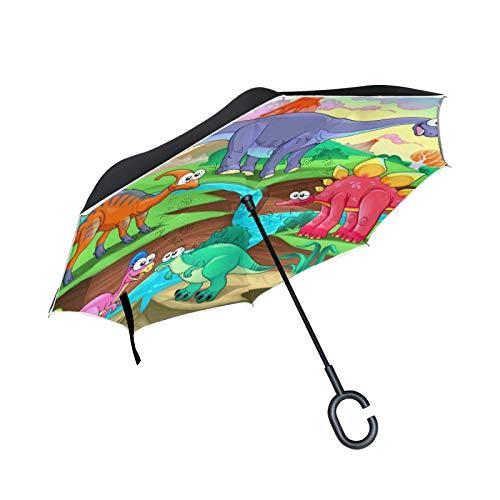 Dinosaurio Dragón De Dibujos Animados Paraguas Invertido Doble Capa Inverso Reverso con Mango en Forma de C Paraguas de Plegado para Automóviles en Exteriores