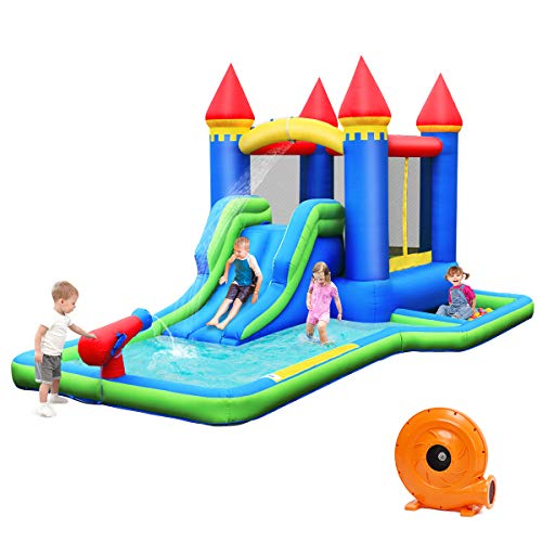 BOUNTECH Inflatable Bounce House, Kids Castle Water Slide with Climbing Wall, Jump Area, Water Cannon, Splash Pool, Including Oxford Carry Bag, Repair Kit, Stakes, Hose, Ocean Balls (with Blower)