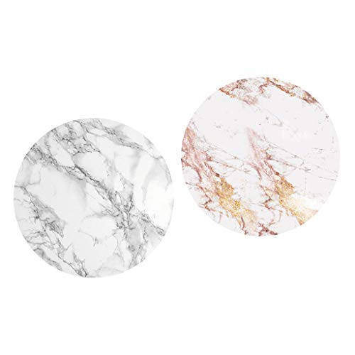 FLAMEER 2 Pcs Table Cloth Large Round Elastic Edge Fitted Vinyl Waterproof Table Cover Elastic Edged 1.5m 1.2m Tablecloth Marble Pattern