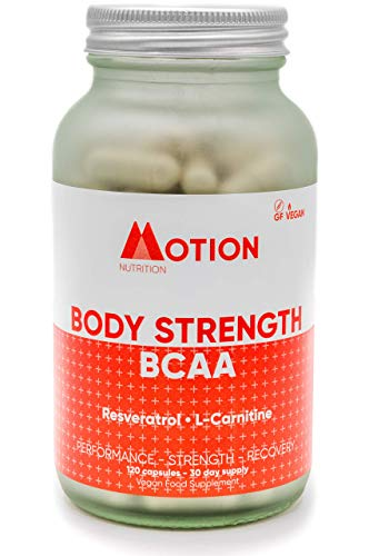 Motion Nutrition Body Strength BCAA – High Performance BCAA Capsules with Resveratrol and L-Carnitine – Strength and Recovery - Vegan/Anti-Oxidant Rich (120 Capsules)