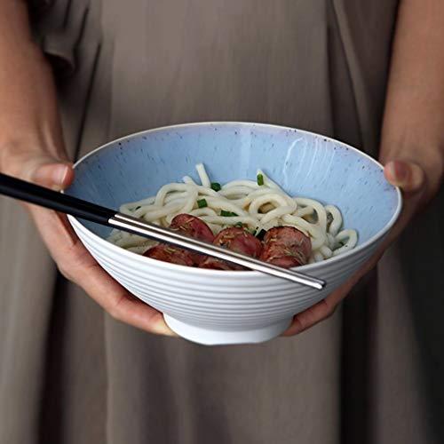 LIXUE Grande soupe Ramen Noodle Bowl Salade de fruits Pasta Bowl Mélange Bols de service Four Micro-ondes Safe Creative vaisselle en céramique 7,8 pouces