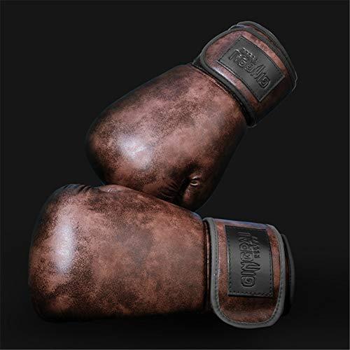 APJJ Boxhandschuhe Frauen, Vintage Rindsleder Boxhandschuhe Für Boxsack, Muay Thai, Kickboxen, Sparring, Sandsack, Fitnesstraining, Kampfsport Handschuhe - Punching Mitts Boxing Gloves,Kaffee