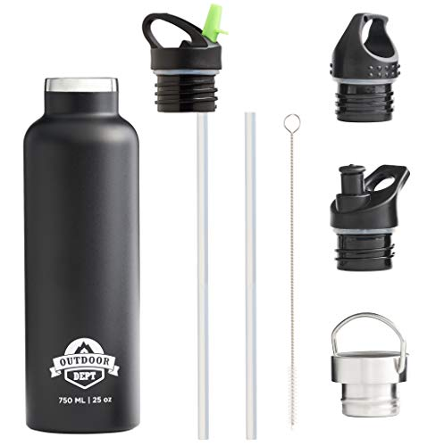OUTDOOR DEPT Isolierte Edelstahl Trinkflasche 750 ML 4 Deckel BPA frei -...