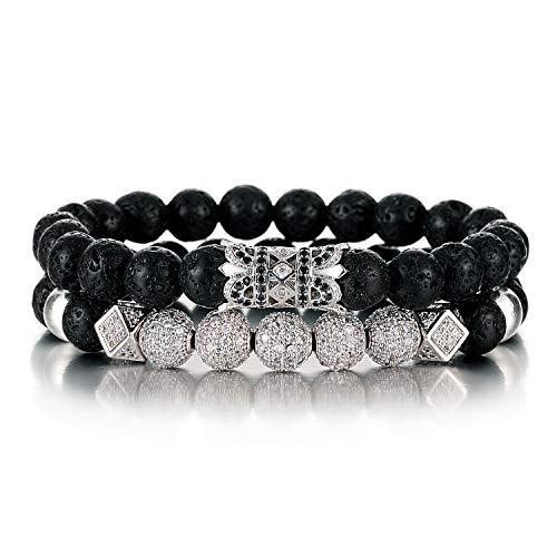SHIWE 8MM Lava Rock Beads Bracelet for Men Women Essential Oil Beaded Healing Anxiety Bracelets
