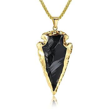 COAI Raw Obsidian Dragonglass Arrowhead Pendant Necklace for Men 31.5