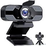 Webcam 1080P Full HD avec Microphone, Caméra Web USB avec trépied, Webcam PC pour Ordinateur de Bureau et Portable, Web Camera pour Vidéo, Etudes, Vidéoconférence, Enregistrement, Jeux, Cours en Ligne
