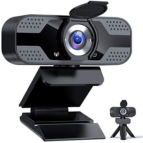 Webcam with Microphone for pc, 1080P HD USB Web cam with Privacy Shutter&Webcam Cover&Tripod, Streaming Microphon Computer Camera with Rotable Wide Angle for Laptop Gaming Zoom microphone(Black)