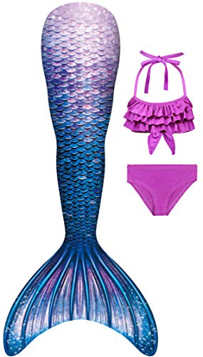 YITU Mermaid Costume Bikini Set Princess Cosplay Bathing Suit for Mermaid Theme Party for Girls - sea 3pcs-110