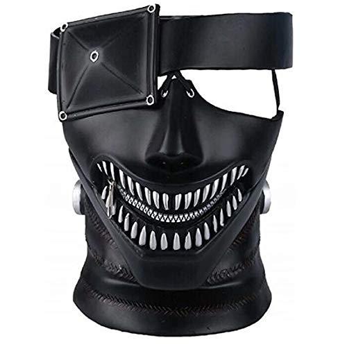 3D Tokyo Ghoul Mask, PVC Kaneki Ken Mask, Adjustable Zipper Mask Costume Props for Halloween Cosplay Black