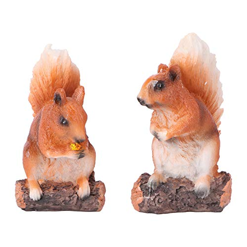 Housoutil 2 Pièces Figurines Décureuil pour Enfants Animaux Jouets Ensemble Gâteaux Écureuil Fée Jardin Figurines Miniatures Collection Ensemble de Jeu pour Les Décorations de Bureau
