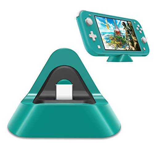 Portable Charging Dock for Nintendo Switch Lite and Nintendo Switch, Stable Support Stand Charging Station for Switch Lite with Type C Input Port (Turquoise)
