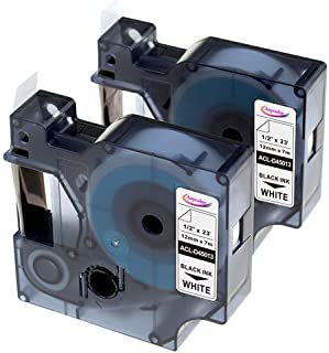 Anycolor Replace DYMO D1 Label Tape 45013 (S0720530) Compatible with DYMO LabelManager 160 280 210D 260P 360D 420P 450D, Black on White Refills, 1/2 Inch × 23 Feet, 12mm × 7m, 2-Pack