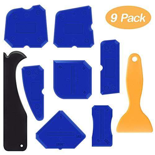 Alohar 9 Stücke Silikonentferner - Abdichtung Werkzeug Caulk Caps Sealant Schaber Kit Fugenglätter Set für Alle Badezimmer Küche Boden