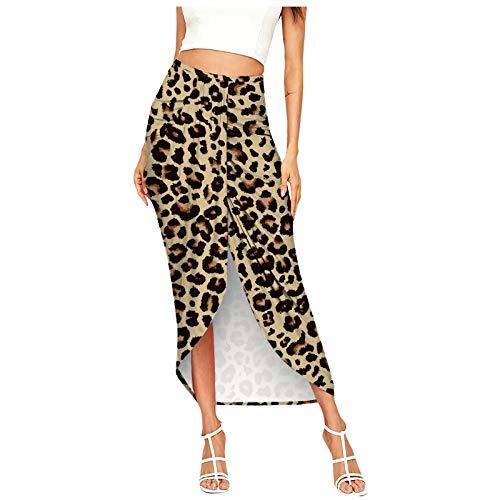 yayay Falda de cintura alta elástica asimétrica para mujer