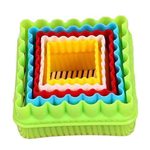 Strumenti di cottura Stampo per biscotti per torta fondente quadrato in plastica ecologica Stampo per frutta e verdura Pratico da taglio - Giallo + Bianco + Rosso + Blu + Verde