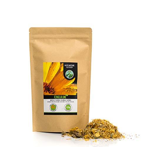 Ringelblumenblüten (125g), Ringelblumentee, ganze Blüten, orange Calendula, schonend getrocknet, 100% rein und naturbelassen zur Zubereitung von Tee, Kräutertee, Essblüten