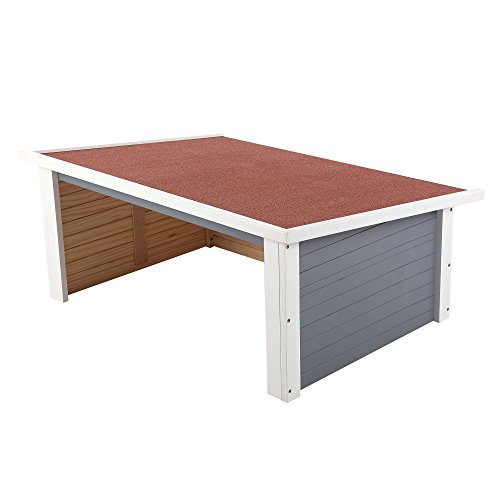 ZELSIUS Holzgarage für Rasenmäher Roboter, Garage aus Holz für Mähroboter, Rasenmäherrobotergarage, Mährobotergarage, Carport für Rasenroboter (grau) - 5