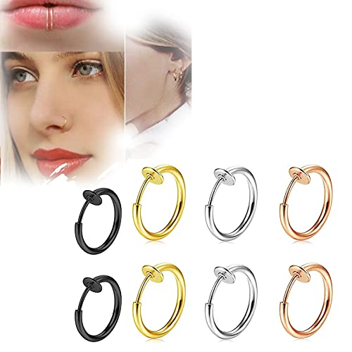 Fake Septum Piercing, Stainless Steel Non-Piercing Septum Hoop, Fake Nose Ring Hoop Septum Rings C Clip Lip Ring Earring for Women Fake Piercing Body Jewelry (13mm)
