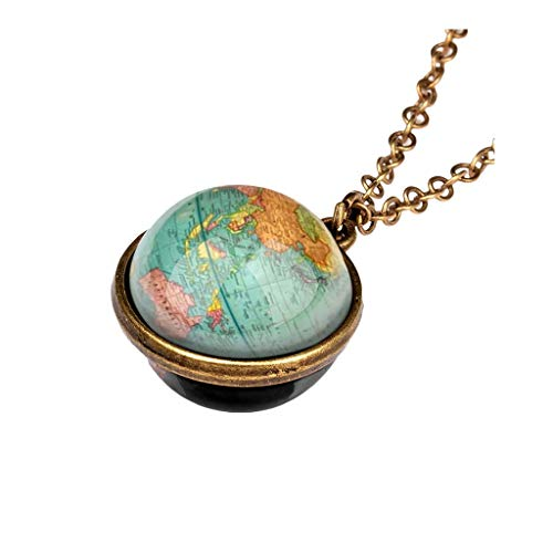 Women Clavicle Necklace Fashion Glass Necklace Jewelry Universe Galaxy Ball Pendant Unique Special Birthday Gift for Womens Girls