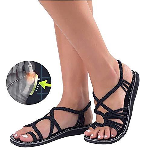 Sandalias de Mujer cómodos Plataformas Plana Cuerda Zapatillas Corrector de juanetes ortopédico Casuales Antideslizante Respirable Zapatos ortopédicos Viaje Verano Playa 2019