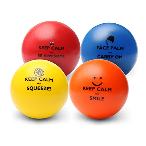 Keep Calm Funny Motivational Stress Balls | Hand Exercise Gift 4 Pack | Fidget Accessory for Stress Relief, Concentration, Anxiety, Motivation, ADHD, Autism and Team Building