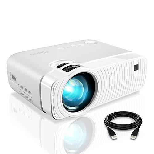 "Mini Beamer, ELEPHAS 4500 Lumen Tragbarer LED Projektor Silber, unterstützt 1080P, Max 180 ""Display, 50000 Stunden Lampenlebensdauer, kompatibel mit USB / HD / SD / AV / VGA. MEHRWEG"