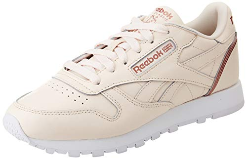 Reebok Damen Classic Leather Sneaker, Ceramic Pink/Blush Metal/Footwear White, 40 EU