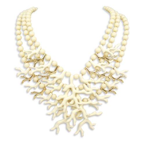 nobel-schmuck Statement Kette Koralle 3reihig Gold Creme Collier