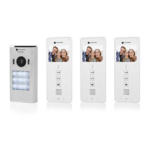 """Sistema de videoportero Smartwares DIC-22132, 480p, Monitor LCD de 3,5"""" (8,9 cm), Cámara orientable 15°, Fácil instalación, Resistente al agua, 12 melodías, Visión nocturna, Kit para tres viviendas"""