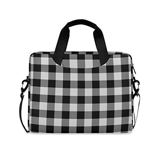 ALAZA Retro Black White Buffalo Plaid Laptop Case Bag Sleeve Portable Crossbody Messenger Briefcase w/Strap Handle, 13 14 15.6 inch