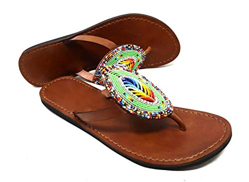 GlobalHandmade USA Women Sandy Reef Sandals Shoes Thong Flip Flops Flat T-Strap Style,Multicolored,Summer sandals for women, Women's leather sandals