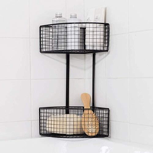 HSWJ Estantes de baño, estantes flotantes, estante de almacenamiento de pared, estante de almacenamiento, doble capa, utilizado en cocina, baño (color: plata)