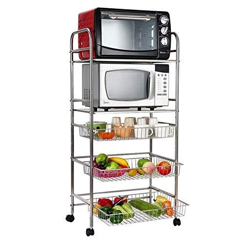 LIPENLI Estante de la cocina de acero inoxidable Estante de la cocina 5 capas verduras y frutas de almacenamiento en rack de microondas horno de carro de la carretilla 58,5 * 37,5 * 122cm
